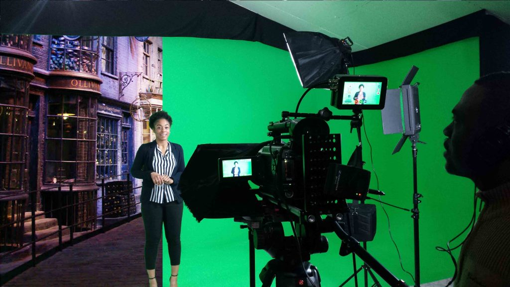 Filming in the green screen studio